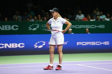 Martina Navratilova of the USA in action.