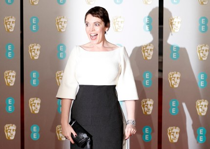 British actress Olivia Coleman poses on the red carpet upon arrival at the BAFTAs in London on February 10, 2019.