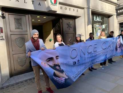 Matthew Grech protests outside the Malta High Commission in London