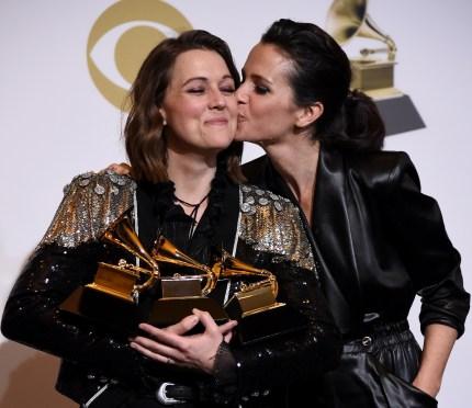 Lesbian Grammy winner Brandi Carlile celebrates with her wife, Catherine Shepherd.