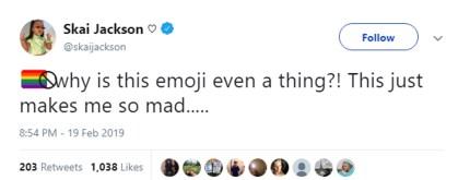A tweet by Skai Jackson opposing the idea of an anti-LGBT emoji