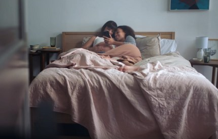 Two women acting as a pregnant lesbian couple in a Samsung advert
