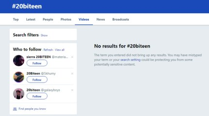 A screenshot of a Twitter search for #20BiTeen