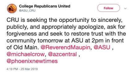 College Republicans United expressed regret for the messages in a tweet.