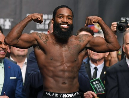 Adrien Broner poses on the scale during his official weigh-in at MGM Grand Garden Arena on January 18, 2019 in Las Vegas, Nevada.