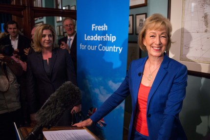 Andrea Leadsom, Member of Parliament for South Northamptonshire and Minister of State at Department of Energy and Climate Change, launches her bid to be the Leader of the Conservative Party at The Cinnamon Club in Westminster on July 4, 2016 in London, England.