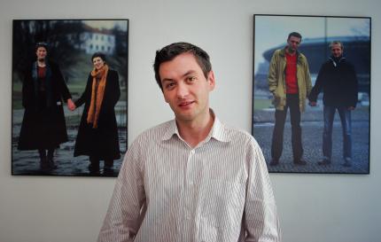 LGBT activist Robert Biedron poses in his office in Warsaw in June 2006.
