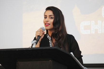 Lilly Singh speaks at Room To Read 2018 International Day Of The Girl Benefit at One Kearny Club on October 11, 2018 in San Francisco, California.