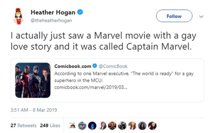 A tweet about how the film Captain Marvel contains a same-sex relationship.
