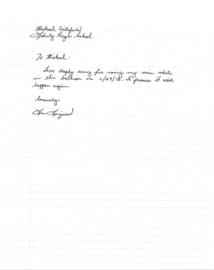 Photo of letter Lee Livengood wrote to Michael Critchfield.