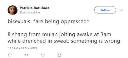 """A tweet about Li Shang, a Mulan character, which plays with the """"lesbian: is being oppressed"""" meme."""