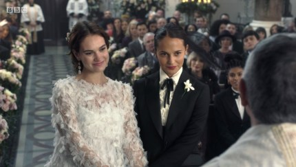 Lily James and Alicia Vikander play a same-sex couple in the mini-sequel to Four Weddings and a Funeral.