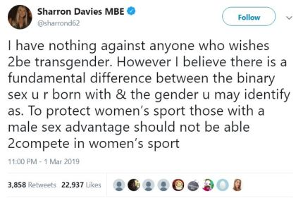 The British swimmer made the comments on her Twitter account. (@sharrond69 / Twitter)