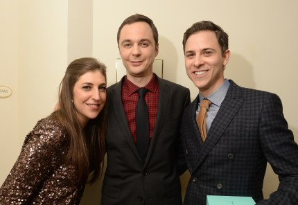 Big Bang Theory actress Mayim Bialik with co-star Jim Parsons and his husband Todd Spiewak