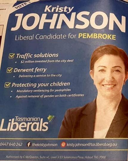 Australia election candidate Kristy Johnson against trans rights