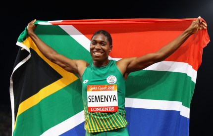 Caster Semenya holding a South Africa flag