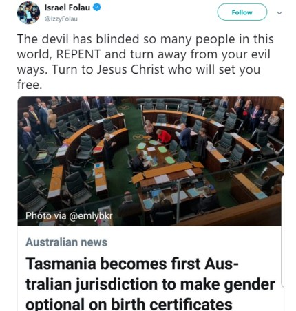 """A tweet by Israel Folau which states: """"The devil has blinded so many people in this world, REPENT and turn away from your evil ways."""""""