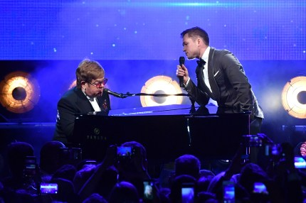 Sir Elton John and Taron Egerton perform during the Rocketman Gala Party during the 72nd annual Cannes Film Festival on May 16, 2019 in Cannes, France.