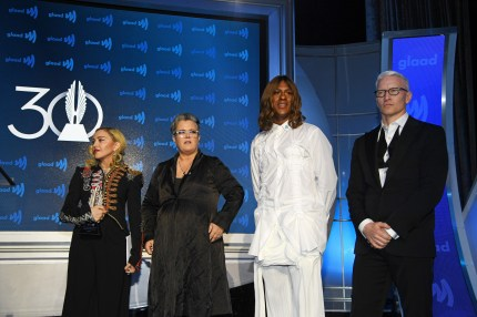 Madonna, Rosie O'Donnell, Mykki Blanco and Anderson Cooper speak onstage during the 30th Annual GLAAD Media Awards New York at New York Hilton Midtown on May 04, 2019 in New York City.