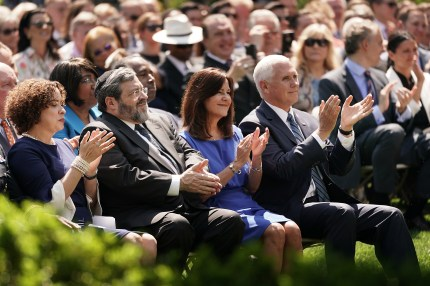 US Vice President Mike Pence and Karen Pence participate in a National Day of Prayer service in the Rose Garden at the White House May 02, 2019 in Washington, DC.