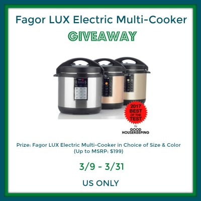 Fagor LUX Electric Multi-Cooker Giveaway {US | Ends 03/31}