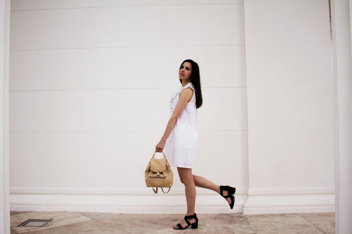 Summer ruffles and eyelet dress black shoes backpack