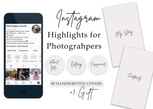 80 Instagram Story Highlight Covers for Photograhpers - Instagram Stories - Instagram Story Covers - Text Icons - black - handwritten