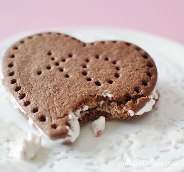 Heart Shaped Ice Cream Sandwiches