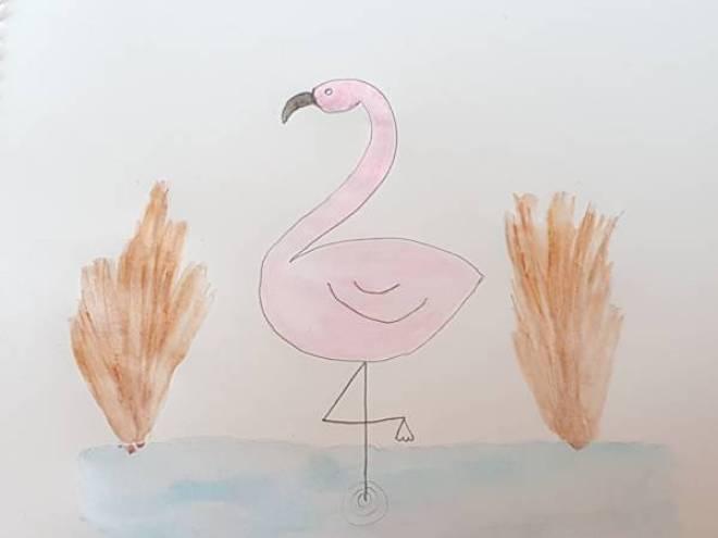 Flamingo tekenen met Sien en Co knutselblog voor Mommy loves Pink - DIY de Roze Flamingo