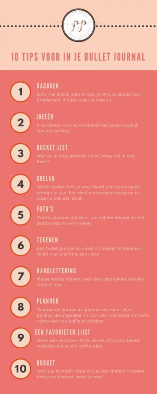 infographic voor de bullet journal 10 ideeen voor in de planner - Hoe gebruik je een bullet journal, en waarom zou je eigenlijk?