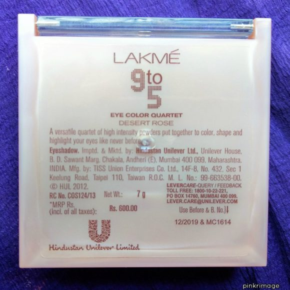 Lakme 9 to 5 Eyeshadow Quartet Desert Rose