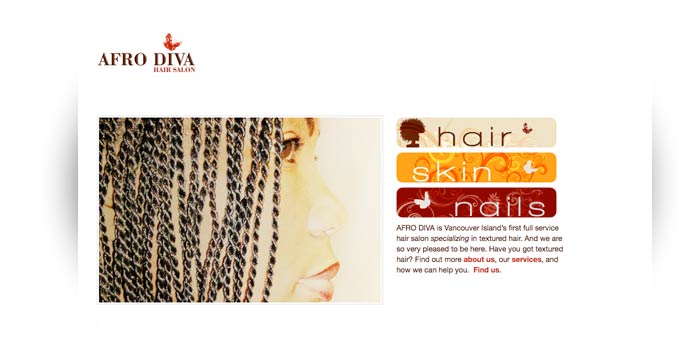 AFRO DIVA Hair and Beauty Salon Website