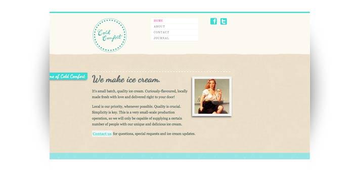 Portfolio image for the website design for Cold Comfort
