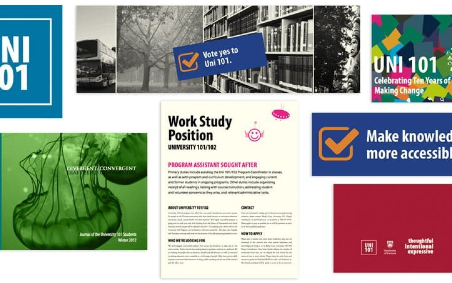 A range of print and web images for various events and happenings at Uni 101 at UVic.