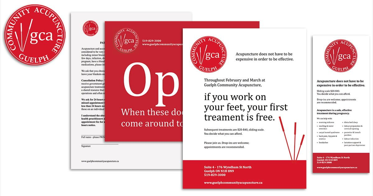 Logo and marketing collateral for Guelph Community Acupuncture