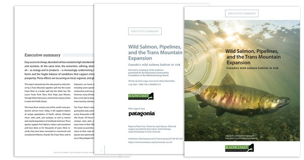 Feature: A cover and two inside pages are shown of the Raincoast Report: Wild Salmon, Pipelines, and the Trans Mountain Expansion