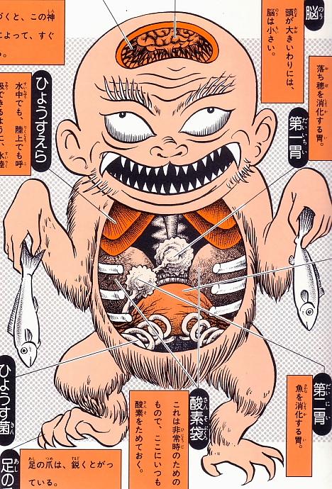Hyosube anatomical illustration from Shigeru Mizuki's Yokai Daizukai --