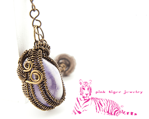 Amethyst Wire Weave Pendant with Infinity Viking Knit Chain