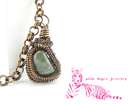 Green Jasper Vintage Copper Pendant with 2 in 1 Chainmaille