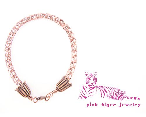 Viking Knit Bracelet, Antique Copper with Flower End Caps