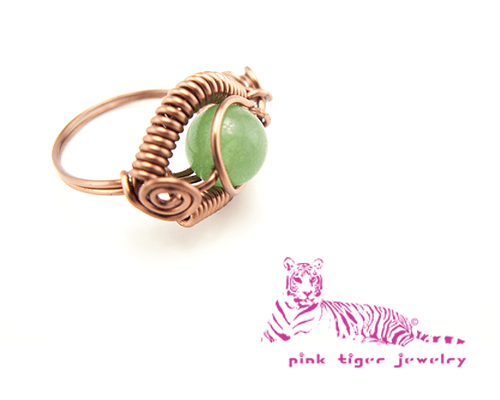 Green Aventurine and Antique Copper Dragon's Eye Ring