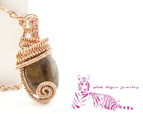 Natural Copper Tigers Eye Wire Weave Pendant with Infinity Chain