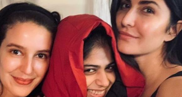Image result for Katrina Kaif looks happy and content as she poses for a selfie with sister Isabelle and a friend