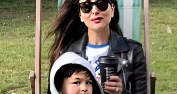 Taimur ali khan hilariously sticks his tongue out whilst getting clicked with mother kareena in a throwback photo