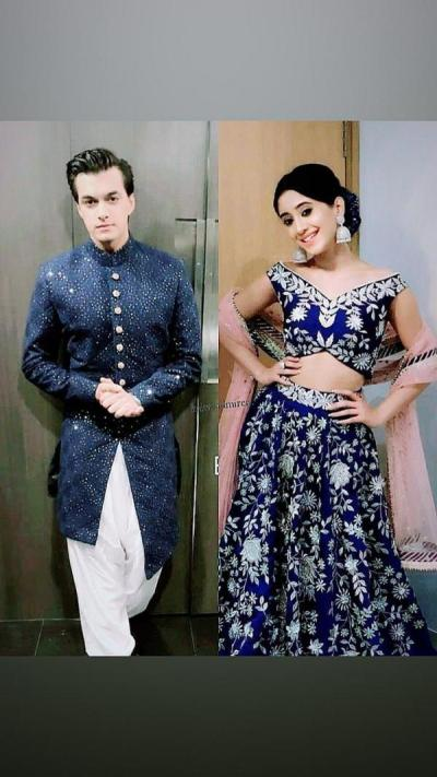Happy Dussehra 2018: Shivangi Joshi and Mohsin Khan twin in royal blue for the dandiya night; check out