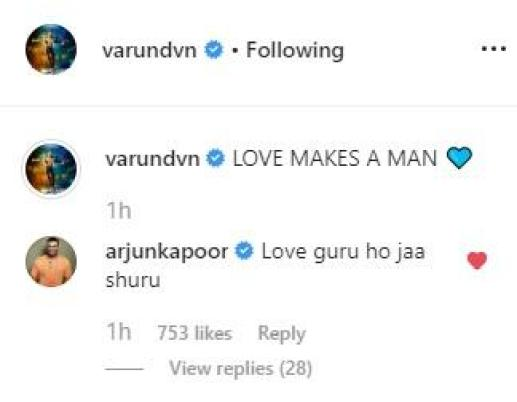 Image result for Varun Dhawan latest pic comes with an advice for men in love; Arjun Kapoor calls him 'love guru'
