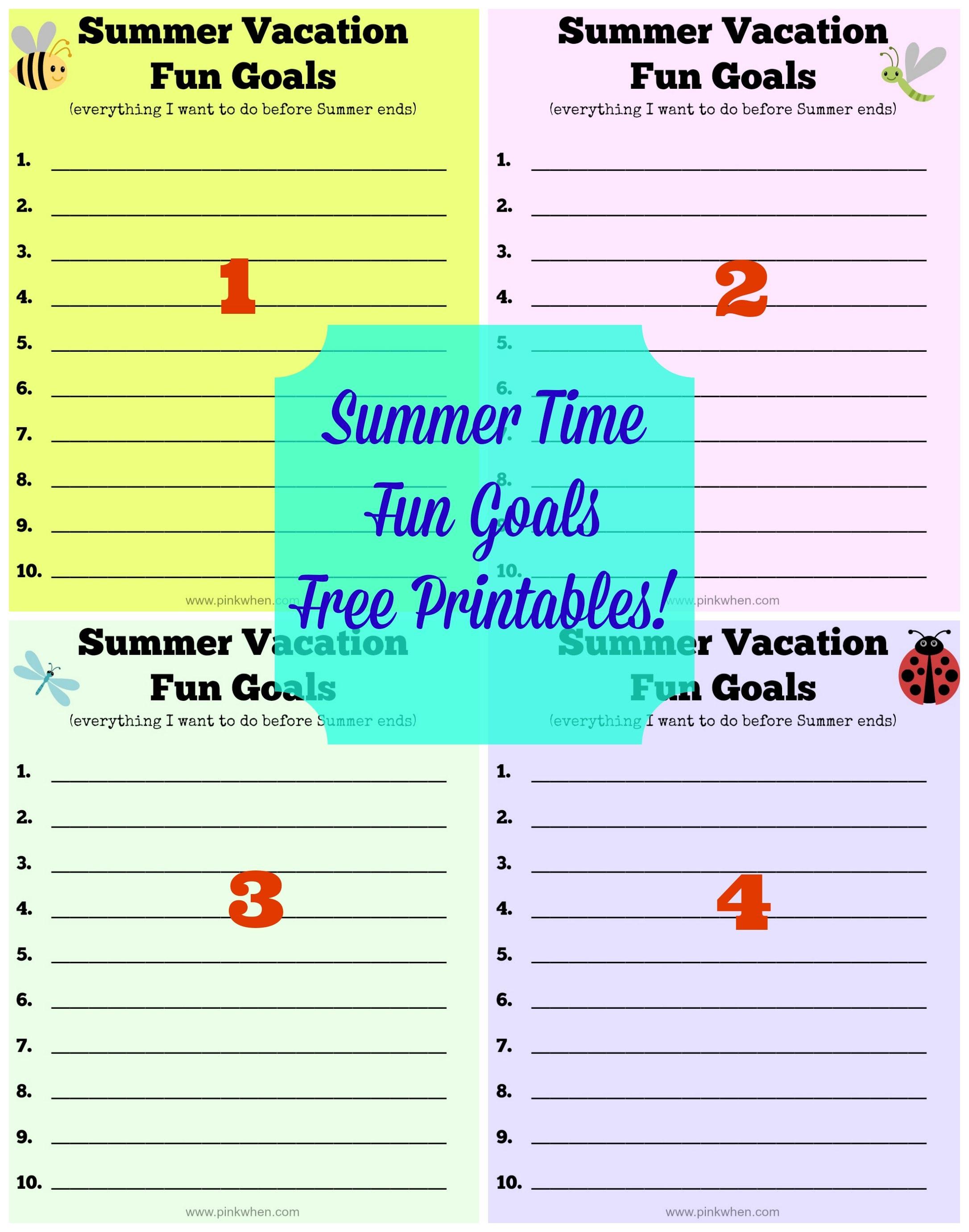 Summer Vacation Fun Goals
