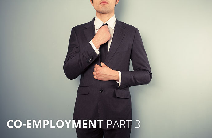"""Man in a suit with text: """"Co-Employment Part 3"""""""