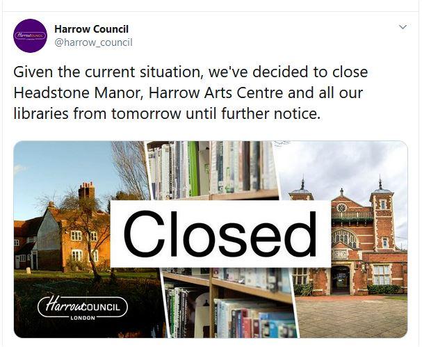 Harrow Libraries Closed