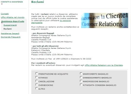 Finalmente con Alitalia si può fare un reclamo via web